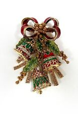 NEW ST JOHN VINTAGE 22KGP PIN BROOCH CHRISTMAS BELLS RED BOW MISTLETOE LARGE