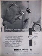 PUBLICITÉ DE PRESSE 1956 ETERNA MATIC MONTRE CENTENAIRE - ADVERTISING