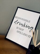 Drink Alcohol Quote Wall Art Kitchen Framed Drinking Unframed funny humour