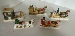 Vintage Accessories Christmas Village People Sleigh Figures Lot1 Lot of 5