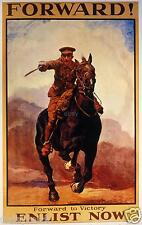 """British Army Cavalry 1915 Poster Forward Enlist Now World War 1 Poster 12x8"""" T"""