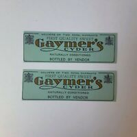 Vintage Beer Label Lot Gaymers Cider Dublin Ireland Unused Stock Neck Lot 2 - 3""