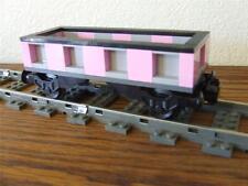 Light Pink / Gray Train Car Custom Built w/ New Lego Brick fits 9V RC Track Set