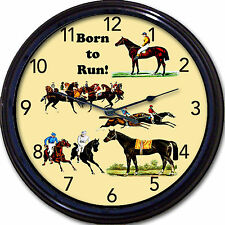 Horse Racing Wall Clock Jockey Grandstand Derby Race Track  Born to Run New 10""