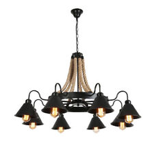 Industrial Chandelier Pendant Light Hemp Rope Ceiling Lamp Iron Ceiling Fixtures