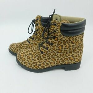 Leopard Womens Synthetic Suede Boots Size 8