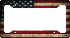 Rustic Usa Flag License Plate Frame Novelty Auto Car Tag Vanity Gift American Us