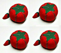 LOT of 4 Allary Red Tomato Pin Cushion with Needle Sharpener