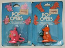 Pop Overs Wind Up Toys Vintage Tomy Orange Kangaroo and Pink Mouse 1980