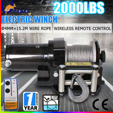 Electric Winch Boat Steel Cable ATV 4WD Trailer Wireless 2000LBS 1360KG 12V AU