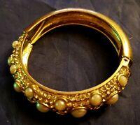 Vintage Pearl Cabachon And Rhinestone Hinged Bracelet Silvertone Chunky