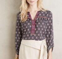 Anthropologie One September Folia Roll Sleeve Top Women's Size XL