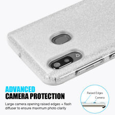 For Samsung Galaxy A20 A30 - Hard Rubber Case Cover Silver Shiny Glitter Sheet