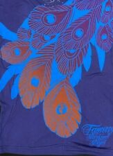 FAMOUS STARS & STRAPS LADIES FITTED TOP TSHIRT PURPLE FEATHERS