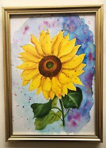 Sunflower Watercolour  Artprint-print Of Original Art-sunflower-Colourful Print