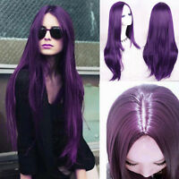 Fashion Sexy Long Black Purple Straight Wig Cosplay Party Party Hair Full Wigs