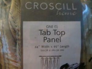 """Croscill Gold Tab Top Curtain Panel 44"""" wide x 95"""" length"""