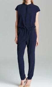 VINCE Navy Blue Crepe Drawstring Waist Jumpsuit Sz 2