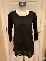 Meadow Rue Anthropologie Black Semi-Sheer Lace 3/4 Sleeve Top, Size XS