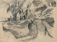 MAN WALKING DOWN COUNTRY LANE Watercolour Painting c1950 IMPRESSIONIST
