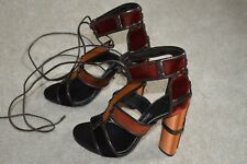 Tom Ford Patchwork Leather Metallic Cage Tie Sandal High Heels Womens EU 37 UK 4