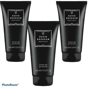 David Beckham Instinct Shower Gel Body Hair Wash 3 X 150ml Free P+P