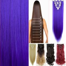 100% Natural Real Clip in Hair Extensions 8 Pieces Full Head Long as Human Hair