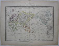 Weltkarte Mappe monde Planisphäre James Cook Reiserouten Orig Lithografie 1838