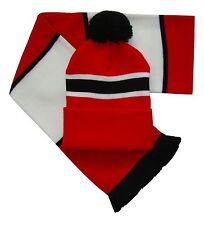 Red White and Black Retro Bar Scarf and Hat Set- United Munich