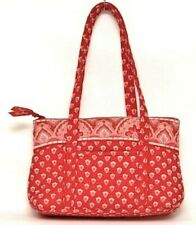 """Vera Bradley Purse Nantucket Red Betsey Handbag White Paisley Floral Quilted 13"""""""