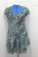 CREW CLOTHING PRETTY BLUE GREEN FLORAL CHIFFON TEA DRESS SUMMER 8