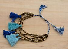 Bracelet Chic perles de rocailles avec pompons bijou ethnik bleu doré 1035 AJ