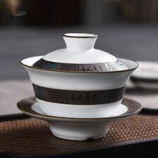 160ml Chinese ceramic tea set porcelain bowl set gaiwan tureen saucer lid carved