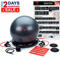 Premium Home Gym Bundle Big Yoga Exercise Ball Resistance Band Set Core Sliders