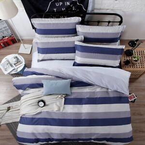 Blue Cotton Stripe Doona Duvet Quilt Cover Set Double/Queen/King Size Pillowcase