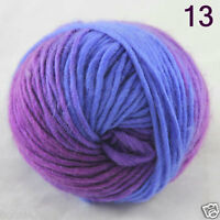 Sale 1 Ball x 50gr NEW Hand Knitting Yarn Chunky Colorful Wool Scarves Shawls 13