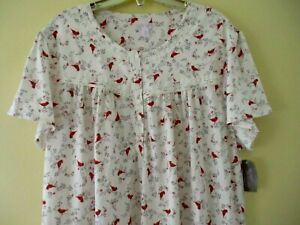 SECRET TREASURES NIGHTGOWN SHORT SLEEVE SWEATER KNIT RED CARDINAL PRINT XL16-18