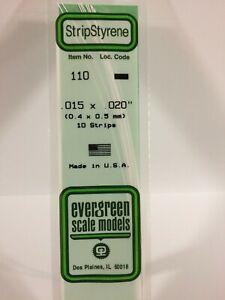 Evergreen EV0110 Moulure Polystyrène 0,38x0,5mm (10pz) Modélisme