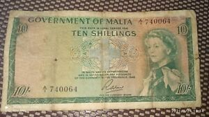 MALTA BANK NOTE 10 SHILLINGS Q.E.II 1949 CIRCULATED