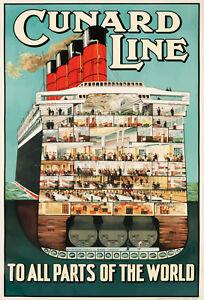VINTAGE CUNARD LINE OCEAN LINER CRUISE SHIP A3 POSTER PRINT