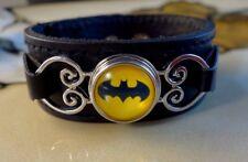 BATMAN retro SNAP BUTTON on genuine black leather bracelet Gifts for women