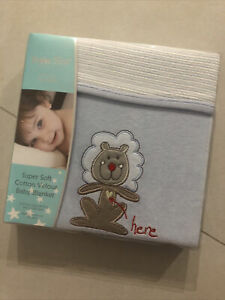 Bubba Blue Bassinet Velour Cotton Baby Blanket - Super Soft. New In Packaging
