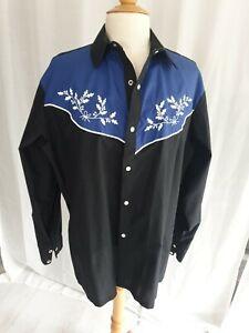 Mens Cowboy Shirt Classic Cotton Costume Black 17 Inch Neck L