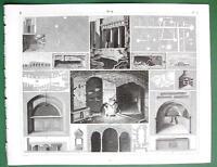 SYRACUSE Jerusalem Naples Rock Tombs Catacombs - SUPERB Antique Print