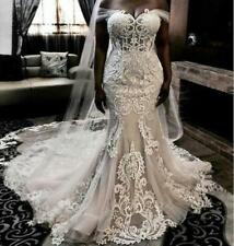 New Plus Size Wedding Dress Off Shoulder Illusion Lace Tulle Mermaid Bridal Gown