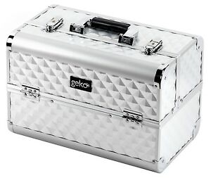 Aluminium Frame Tiered Vanity Case Makeup Hairdressing Box - Silver