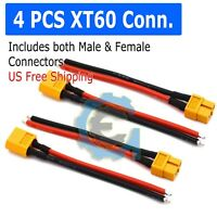 2 pair XT60 Power Plug Connectors for RC Lipo Battery Pre Wired with Heat Shrink