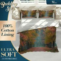 Red Leaves Forest Colourful Quilt Cover King Bed Single Double Queen Size