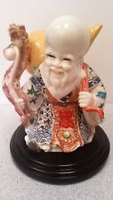 Asian Chinese Statue Happy Old Man Dragon Staff Carrying A Gourd Porcelain