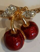 Vintage Gold Plated Enamel Cherry Pendant And Chain